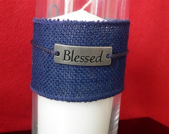 Unscented pillar candle holder with burlap