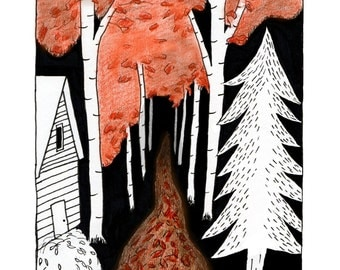 Fall Forest Illustrative Drawing Print