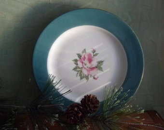 Homer Laughlin Empire Green Pink Rose Salad Plates