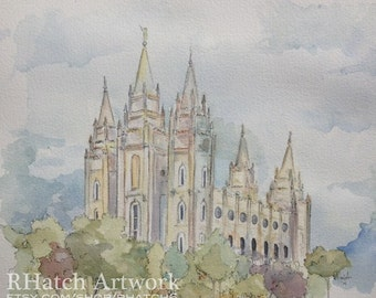 Salt Lake LDS Watercolor Temple PRINT, variety of sizes available