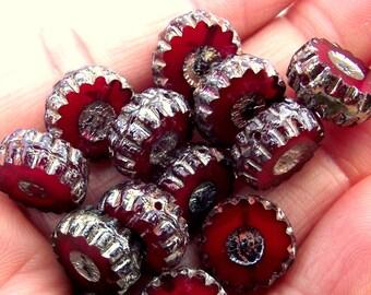 13mm Burgundy Red Czech Glass Wheel Beads, Dark Red Czech Glass Beads