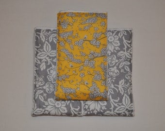 Set of 3 6-Ply Burp Cloths / Size 13 in x 19 in / Burp Clothes / Floral, Birds/ Cloth Diaper
