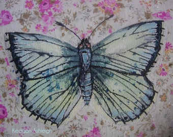 Butterfly painting - 12 x 12 cm - acrylic & decopatch