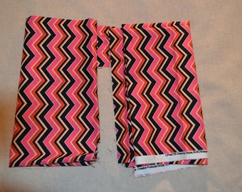 Destash- 2 Pieces of Pink and Black Chevron Cotton Fabric For Quilting Or Crafting