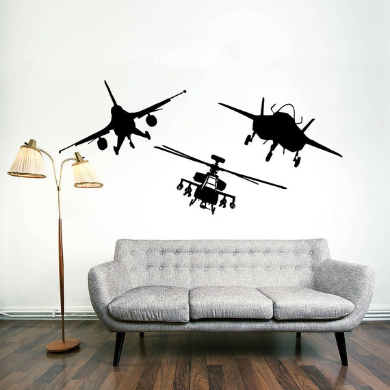 Wall decal vinyl sticker decals art home decor by for Aviation wall mural