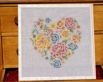 Heart Shaped Flower Bouquet, Hand Painted Stretched Needlepoint Canvas on Wooden Frame