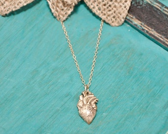 SALE  •••  bronze ••• Anantomical heart necklace | Gold tone heart necklace | Anatomically Correct Heart necklace