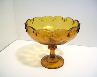 Indiana Glass Company Large Amber Glass Compote