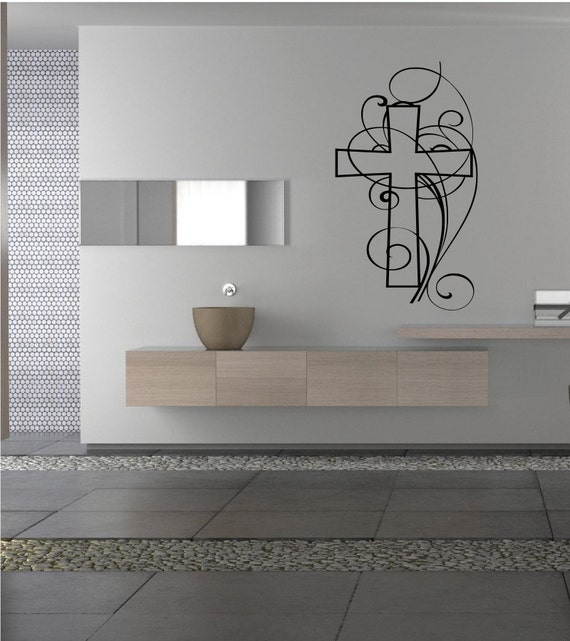 Cross Wall Decal Christian Wall Art Living By Ourhomewallvinyls