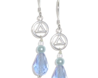 Style #1118 Alcoholics Anonymous Sterling Silver, Small Circle Triangle Earrings
