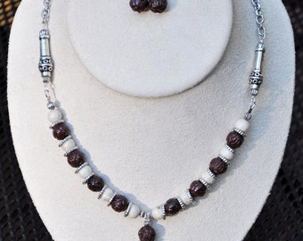 Brown and Burgundy Stone Pendant Necklace and Earring Set