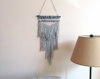 SALE// Hand Woven Wall Hanging / Tapestry / Weaving//Grey/Pink/Vintage Lace