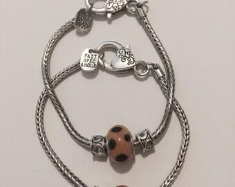 Polka-dot Bead with Hearts on European Bracelet Fait Avec Amour