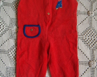 VINTAGE 70's / baby Pyjama/Pajamas without feet, without sleeves, red, loop fabrics 12-18 months,.