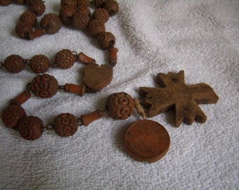 RARE Vintage French, grand strand of monks/nuns, Rosary carved detail handmade, olive wood