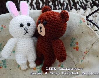 LINE Brown & Cony Amigurumi PDF Pattern