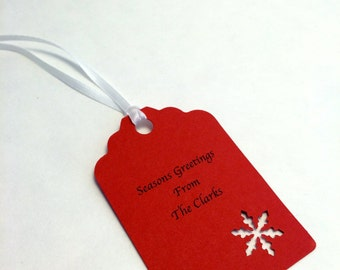Personalized Holiday Gift Tag, Christmas Gift Tag, Hang Tag: 9 Holiday/ Christmas Snowflake Gift Tags