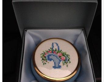 Framecraft Needlepoint trinket box in gift box