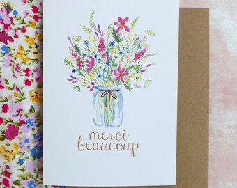 Merci Beaucoup Flower Jar Jeweled A6 Greeting Card
