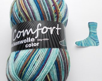 sock yarn 100g (6,-Euro/100g), light blue-colored striped, 4ply (215.04)