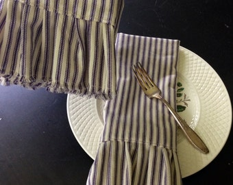 Stripes & Ruffles, Fabric/Cloth Napkin, Set of 4