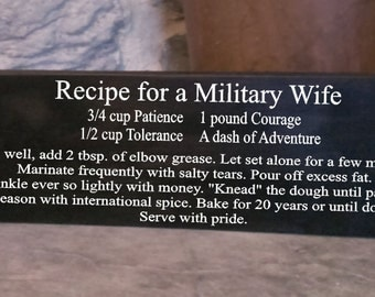 Recipe for a Military Wife sign-uscg-navy-air force-marines-army-military sign-wall decor
