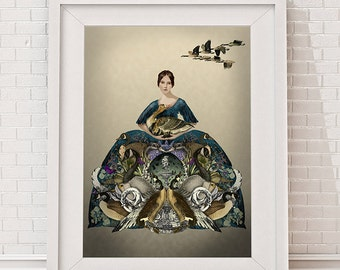 Mother Goose, Limited Edition Giclee print   Fairy tale print goose print goose illustration art print wall art wall decor wall hanging