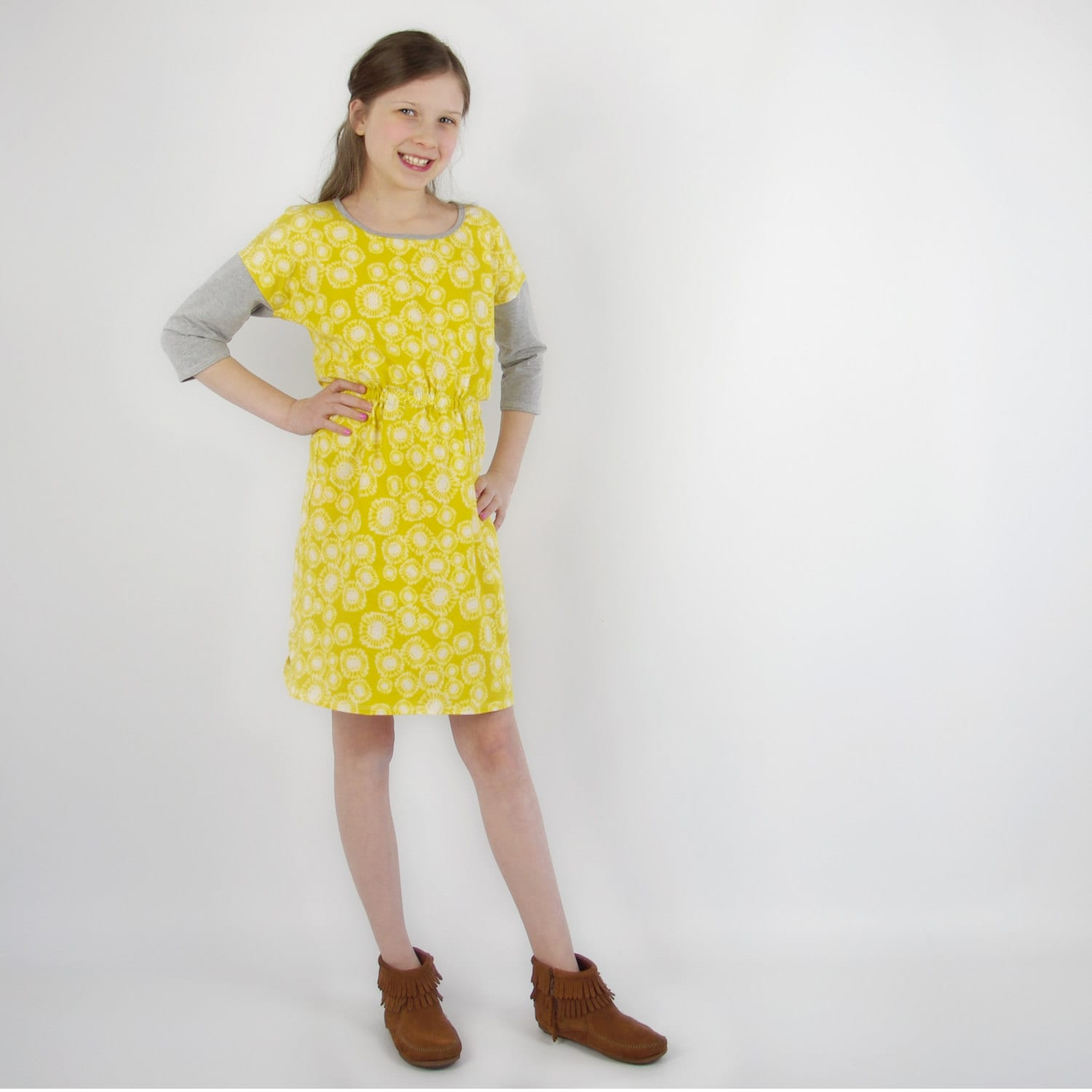 Whimsical Boho Clothing For Kids Tween Girls Dress Yellow