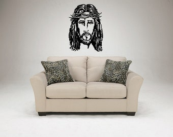 Jesus Face Wall Decal Christ Portrait Nazareth Messiah Son God Gospel Icon Church Faith Divine Trinity Prayer Pray Wall Sticker Decal 3708