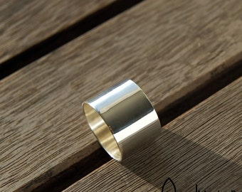 Wide silver ring - band ring - plain