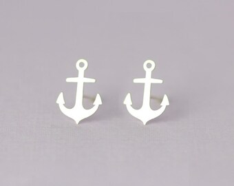 Anchor stud earrings, Handmade in sterling silver, Nautical Jewelry