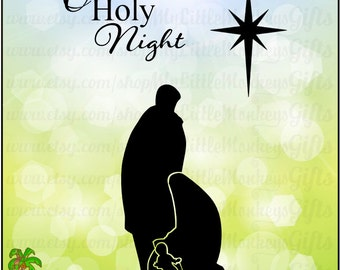 O Holy Night Nativity Silhouette Design Digital Clipart, Solid and Cut Out Versions Instant Download SVG File