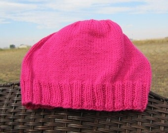 Hot Pink knitted hat