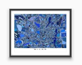 Milan Italy, Milan Map Art Print, Italian City Maps, Travel Map, Milano