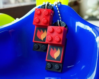Triple Flame Lego Necklace