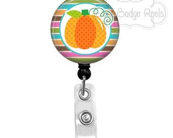 Badge Holder - Pumpkin Badge Reel - Fall Badge Holder - Retractable Badge Reel - Holiday Badge Reel 1013