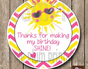 Instant Download - Sunshine Party Favor Tag - My Lil Sunshine - Print at Home