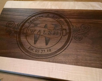 "Laser Etched Cutting Board Customized 12x9""  Wedding Gift House Warming Gift"