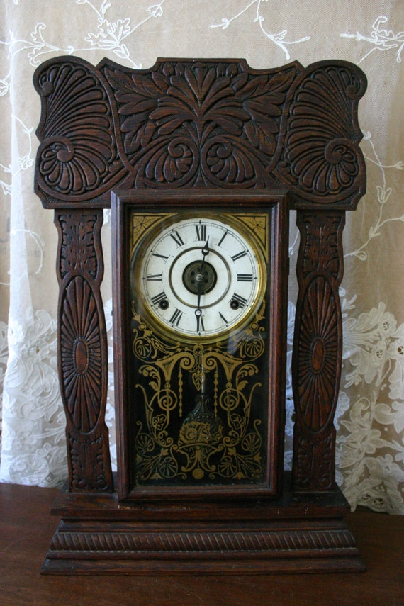 Antique Ingraham 8 Day Mantel Clock Late 1800 S