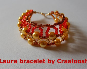 LAURA gold-brown-red beaded Bangle by Craaloosh. Handmade Croatian Traditional Jewelry