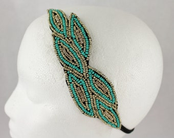 Turquoise Gold beaded leaf leaves applique stretch headband hair piece band