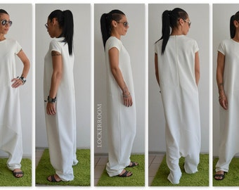 Loose jumpsuit, White Loose Jumpsuit, Harem jumpsuit, White woman jumpsuit, Oversize jumpsuit, Plus size jumpsuit, Drop crotch jumpsuit