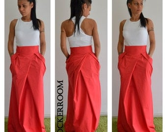 Orange long skirt /Spring Maxi skirt / Woman high waist orange