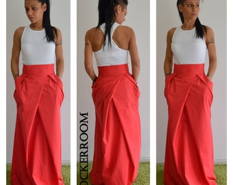 Grey woman skirt /Spring Long skirt / High waist maxi skirt/
