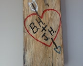 Heart carved into a tree log slice, valentine's gift, hand carved heart and initials in log wood, rustic