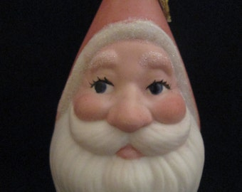 SANTA - - Pointy head Porcelain Ornament