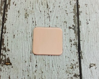 Copper Square Stamping Blanks - 20mm Square Blank - Rounded Square Stamping Blank - 16G Copper Rounded Square Blank