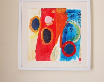 Framed original artwork. Acrylic / mixed media painting. Free Postage. Title: 'Jazz' by Jessie Jones.