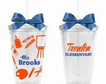 Art Teacher Gift - Acrylic Tumbler Personalized Cup - Art Teacher Appreciation