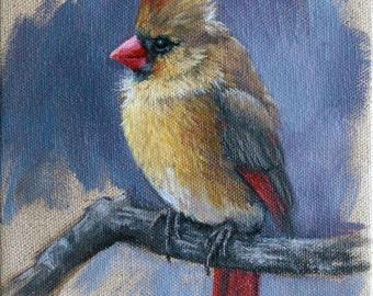 Female Cardinal - bird painting - Open edition print